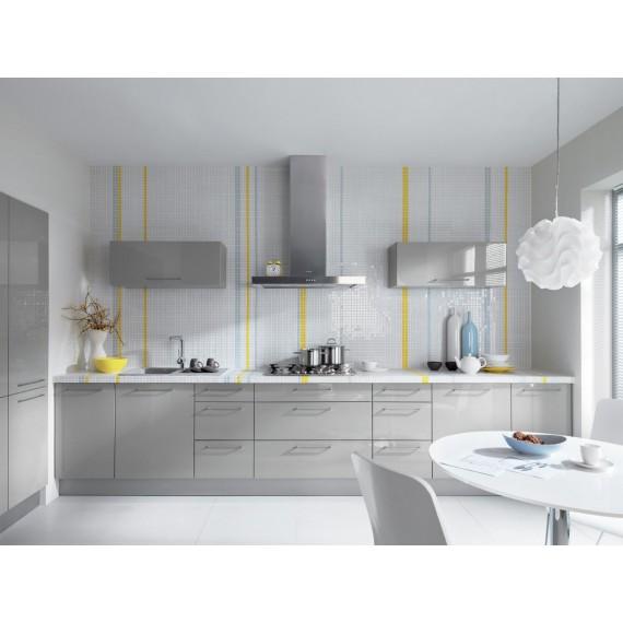 Küche 300 cm Grau Glanz MDF...