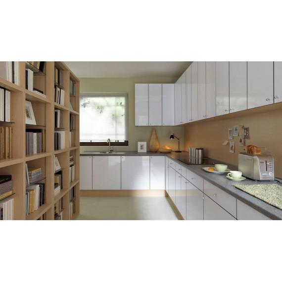Küche 300 cm Weiss Glanz,...