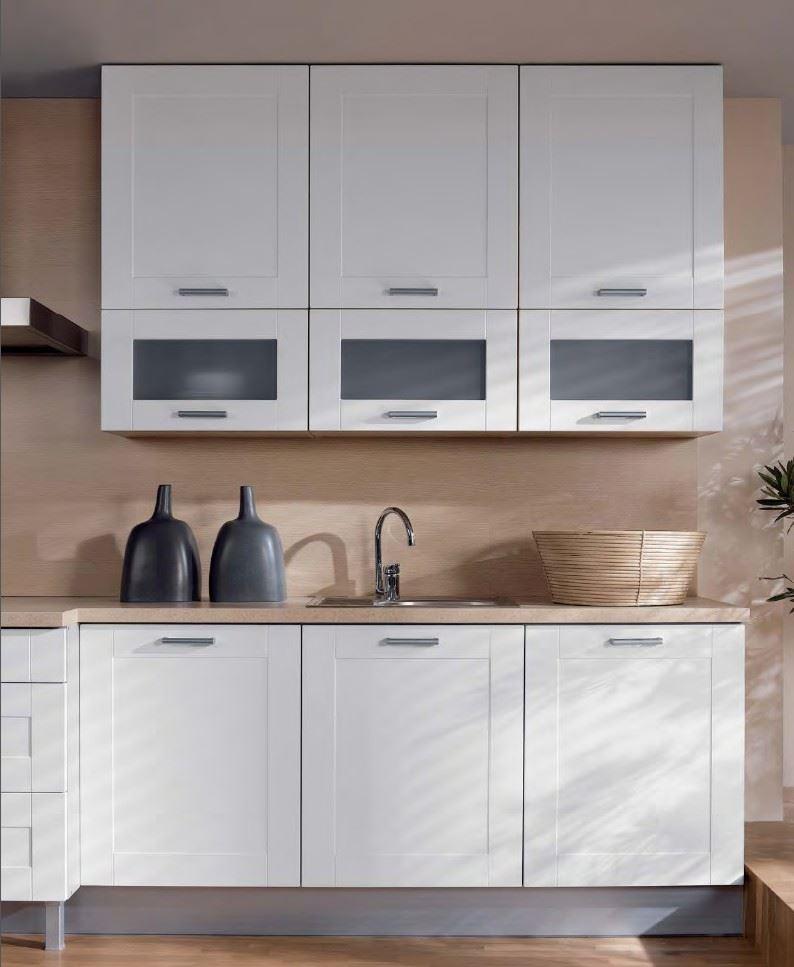 Küche 180 cm Weiss matt MDF Rahmen, erweiterbar