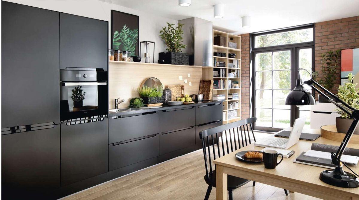 Küche schwarz matt Fronten - erweiterbar